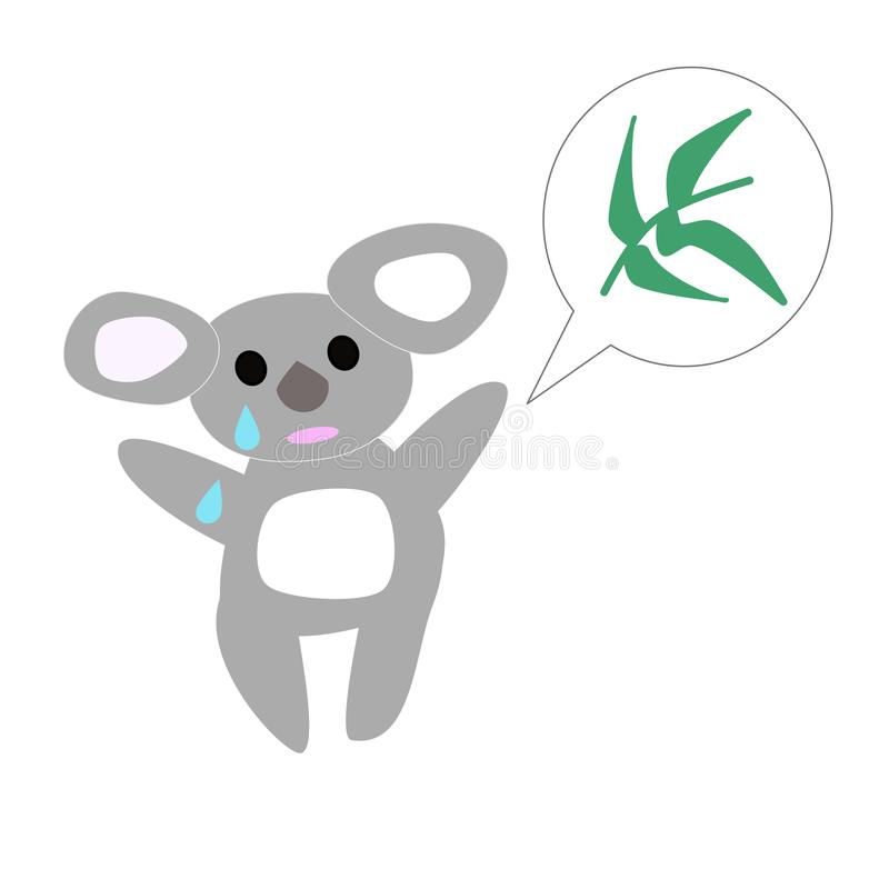 Orso triste di coala con l'eucalyptus illustrazione di stock