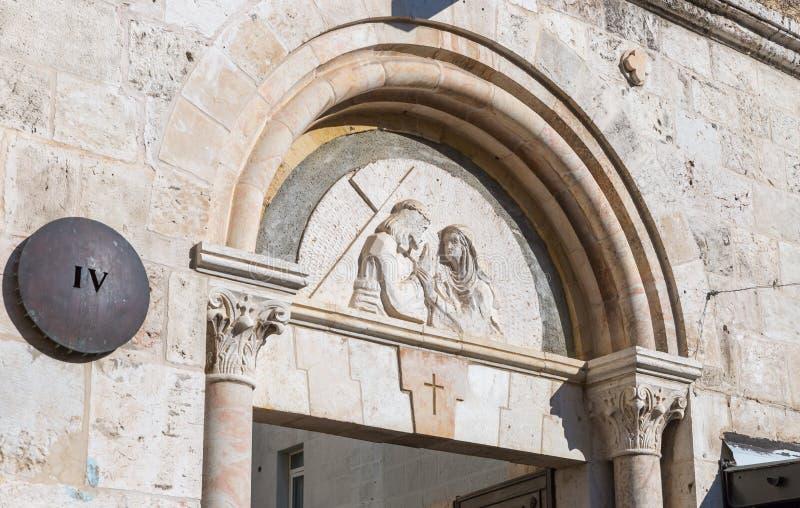 Ort des vierten Halts von Jesus Christ auf dem Weg zur Durchführung auf Via Dolorosa-Straße in der alten Stadt von Jerusalem, Isr lizenzfreies stockfoto