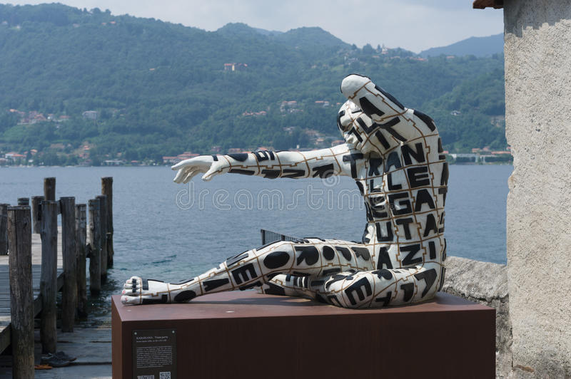 Orta San Giulio. These fascinating Rabarama sculptures were on display around Orta San Giulio in the summer of 2010 stock photography