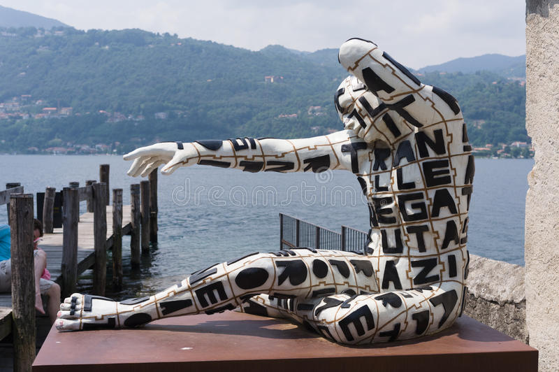 Orta San Giulio. These fascinating Rabarama sculptures were on display around Orta San Giulio in the summer of 2010 royalty free stock photo