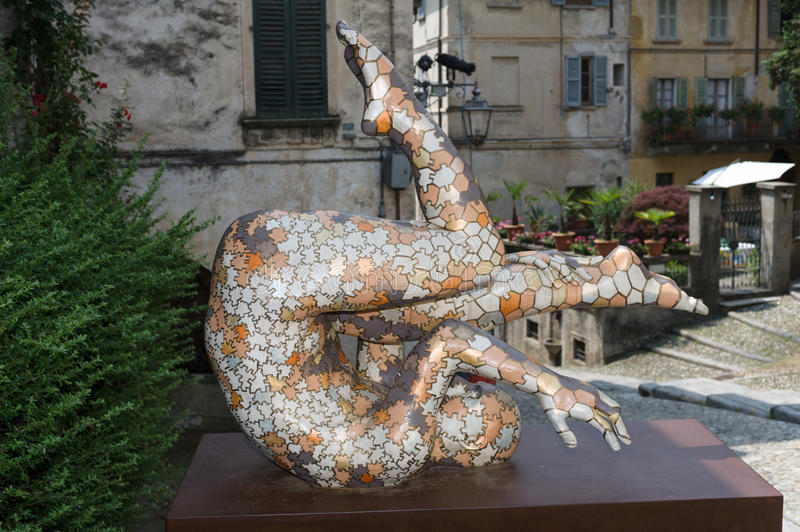 Orta San Giulio. These fascinating Rabarama sculptures were on display around Orta San Giulio in the summer of 2010 royalty free stock photography