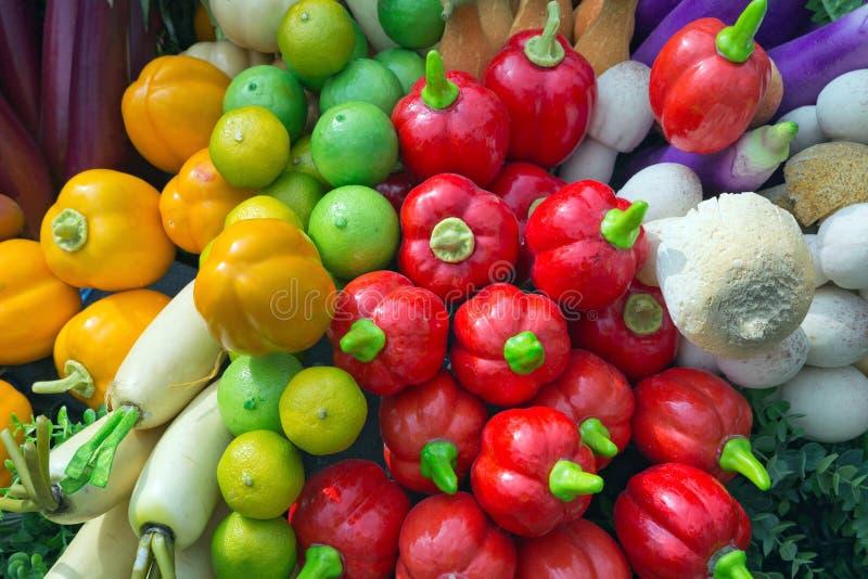 Ortaggi da frutto artificiali per la manifestazione fotografie stock