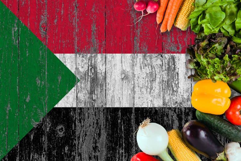 Ortaggi freschi dal Sudan sulla tavola Cottura del concetto sul fondo di legno della bandiera fotografia stock libera da diritti