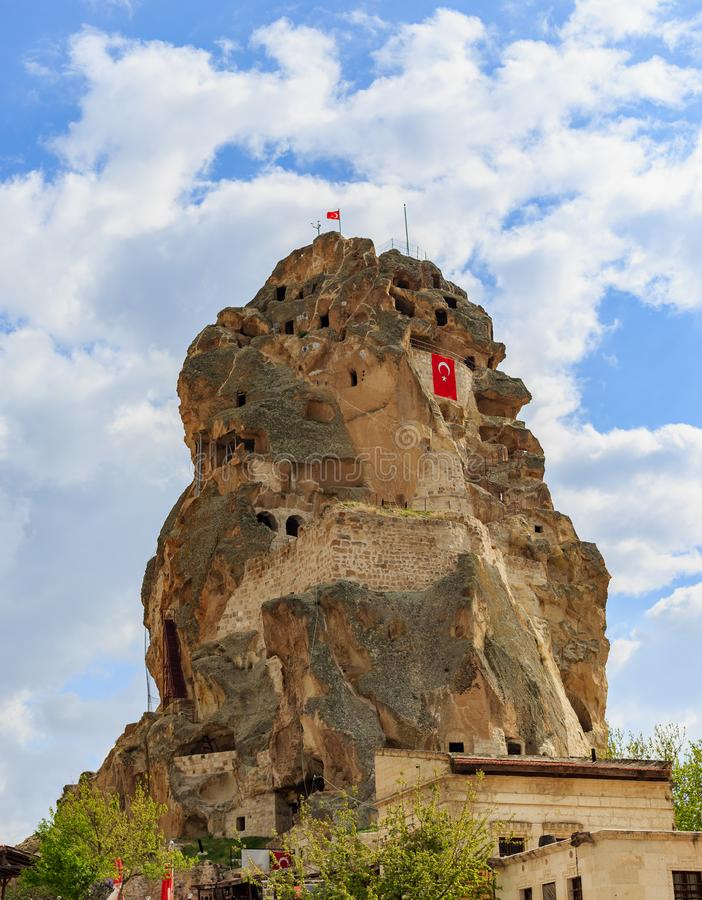 Ortahisar castle in Cappadocia royalty free stock images