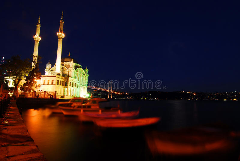 Ortakoy- istanbul. Istanbul city Ortakoy mosque at night royalty free stock image