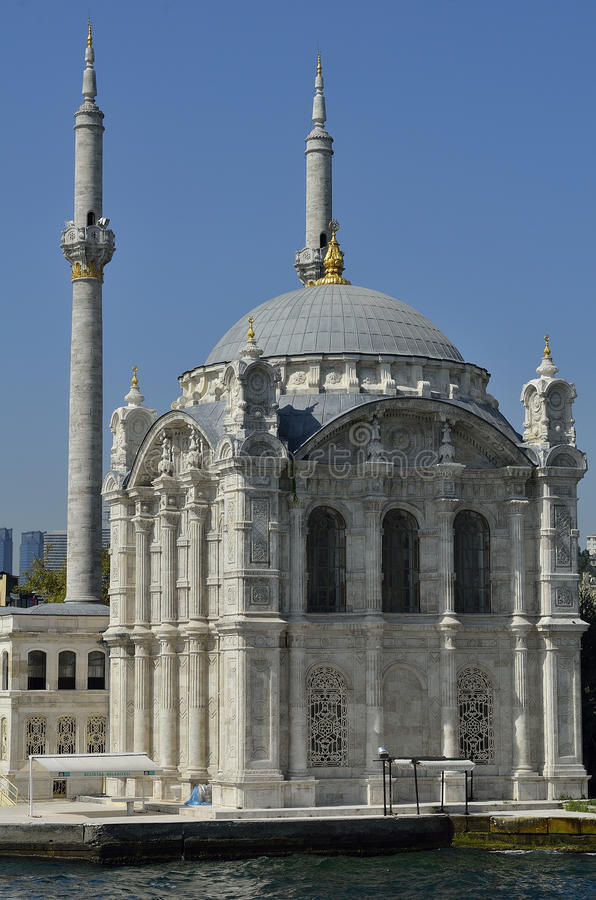 Ortakoy mosque. Ottoman neo-baroque architecture in the design of Ortakoy Mosque. Istanbul. Turkey stock images