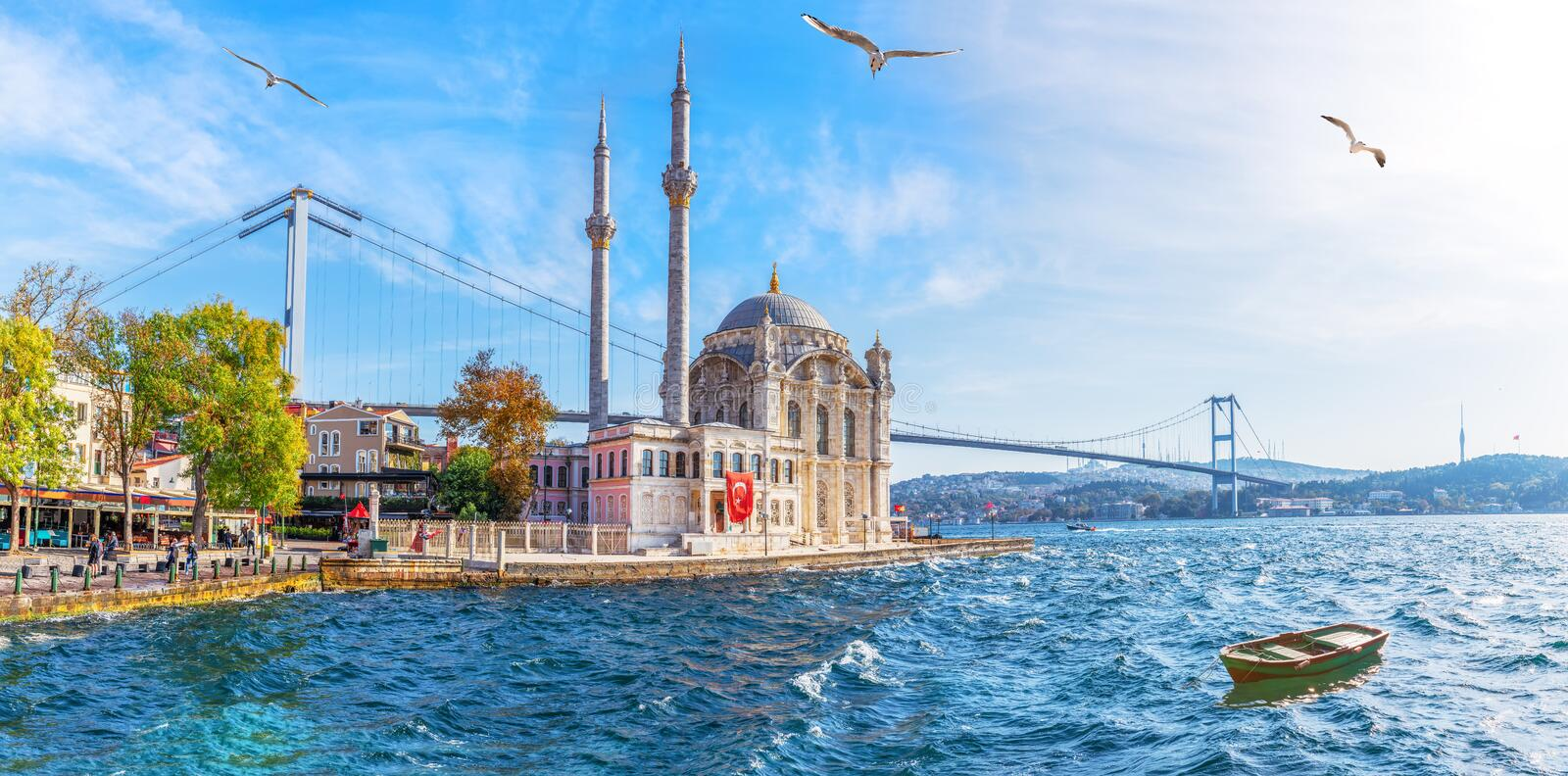 The Ortakoy Mosque panorama, beautiful sea view, Istanbul royalty free stock photo