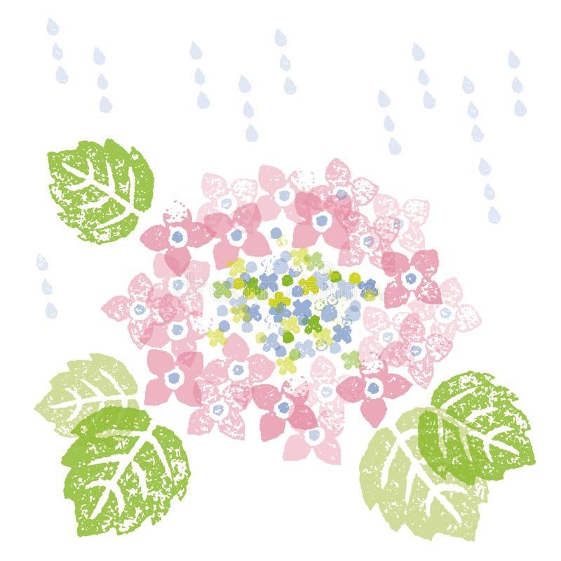Ortensia rosa in una stagione delle pioggie illustrazione vettoriale