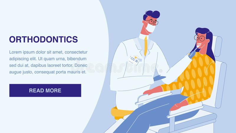 Orthodontics Flat Vector Landing Page Template. Stomatology Web Banner. Dentist and Patient. Hospital, Clinic. Woman on Chair in Dental Office. Male Doctor in stock illustration