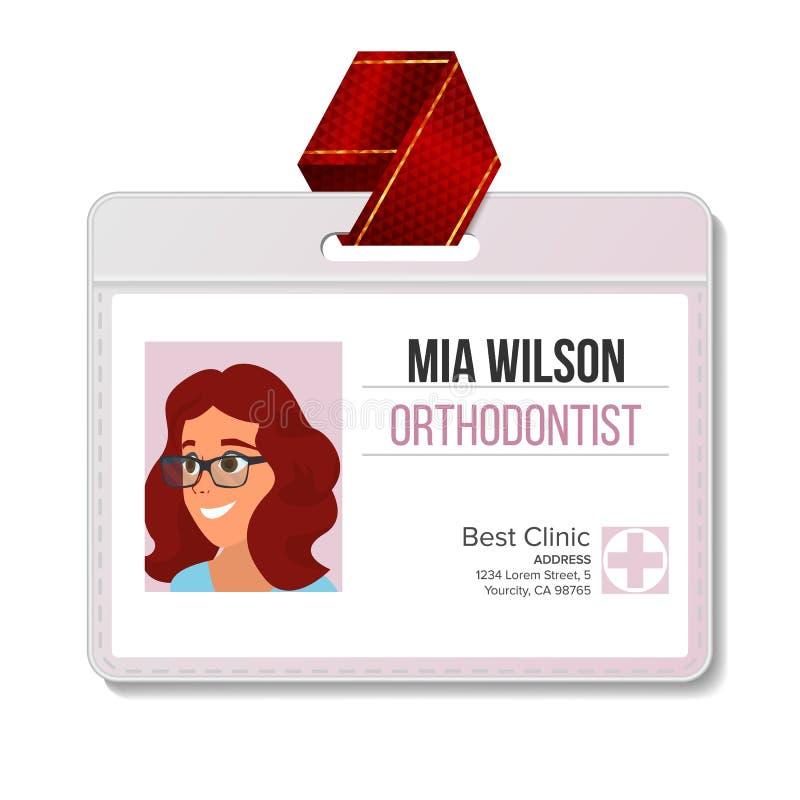 Orthodontist Identification Badge Vector Mujer Espacio en blanco del plástico Médico Hospital Persona médica Ilustración aislada stock de ilustración