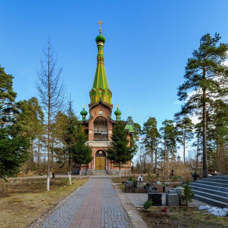 Orthodox Al Heiligenkerk in Priozersk, Rusland stock foto