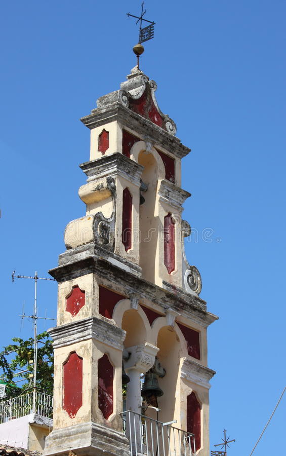 Orthodox bell tower in Corfu royalty free stock photo
