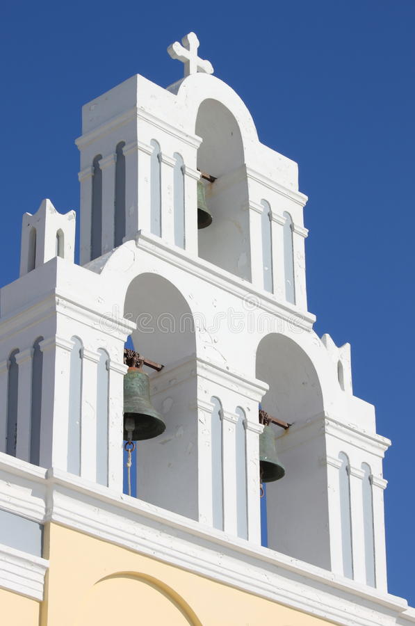Orthodox Bell Tower In Santorini Stock Photos