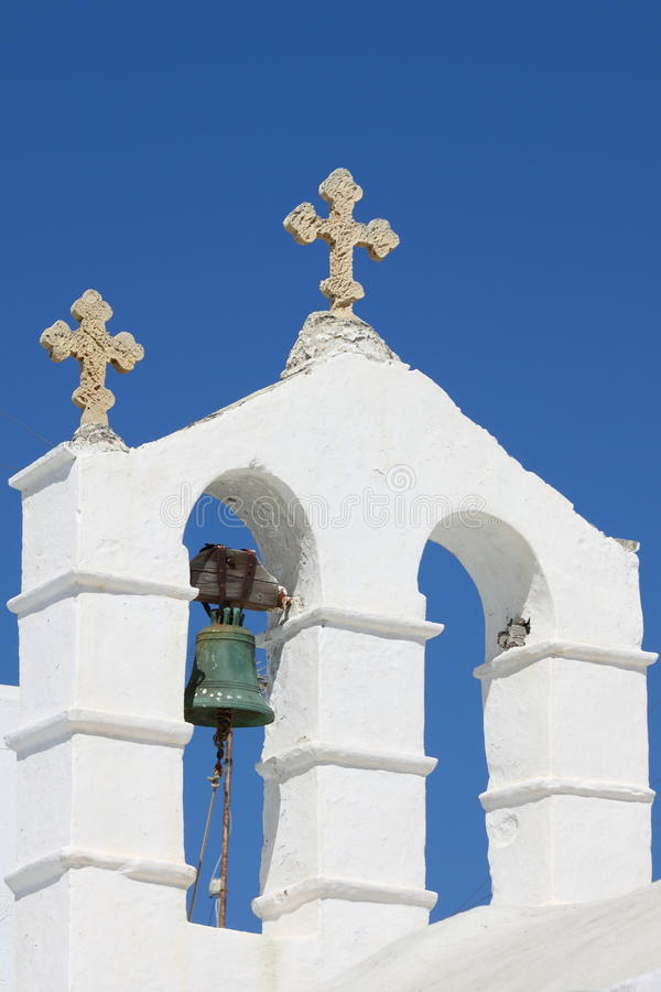 Orthodox bell tower in Santorini royalty free stock images