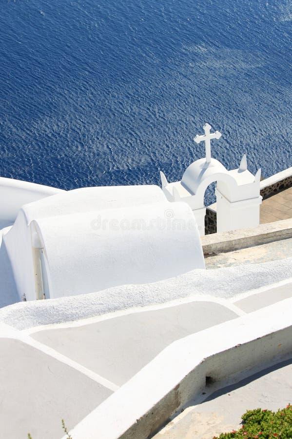 Orthodox bell tower in Santorini Island royalty free stock image