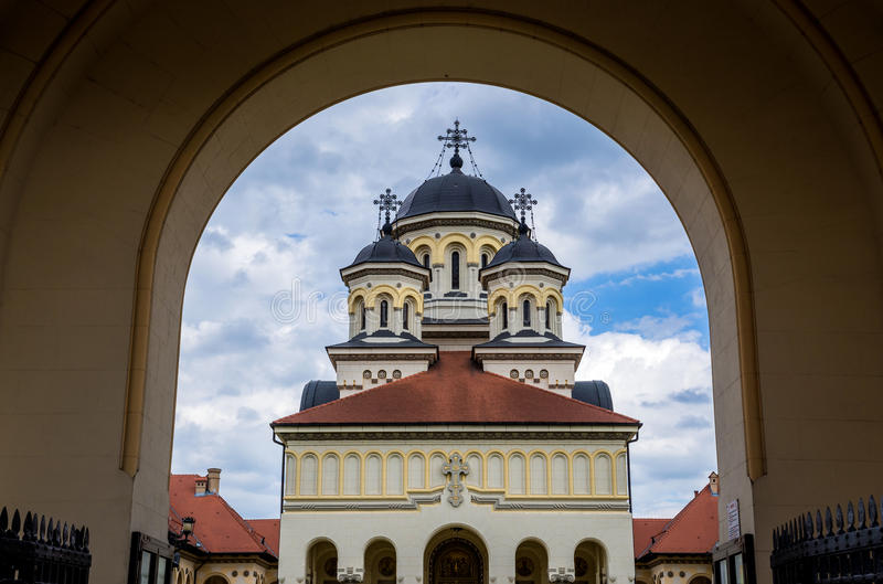 Orthodox Cathedral in Alba Iulia. Coronation Cathedral deticated to Holy Trinity in Citadel of Alba Iulia city in Romania stock image