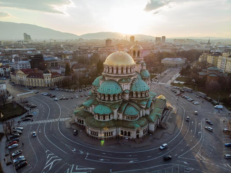 Orthodox Cathedral Alexander Nevsky, in Sofia, Bulgaria. Aerial photography in the sunset. Aerial photography in the sunset by drone in Sofia, Bulgaria in the stock photo