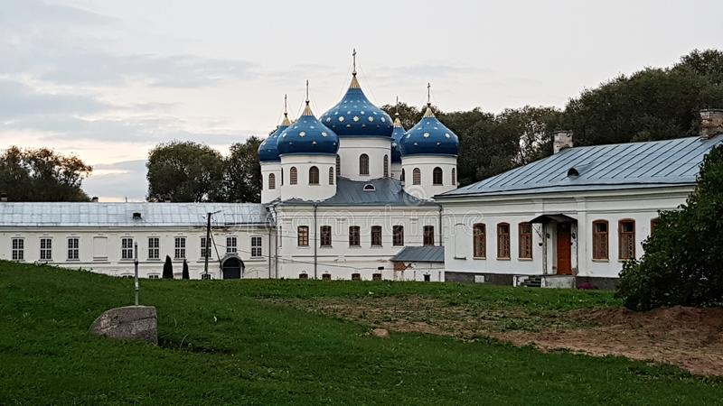Orthodox Cathedral on the territory of the Yuriev Monastery. Veliky Novgorod, Russia, September 2018 royalty free stock photo