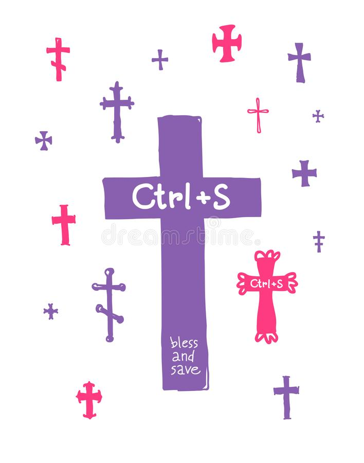 Orthodox, Catholic, Celtic and other crosses. Vector. The inscription Save and save in the keyboard layout, the metaphor. Pattern stock illustration