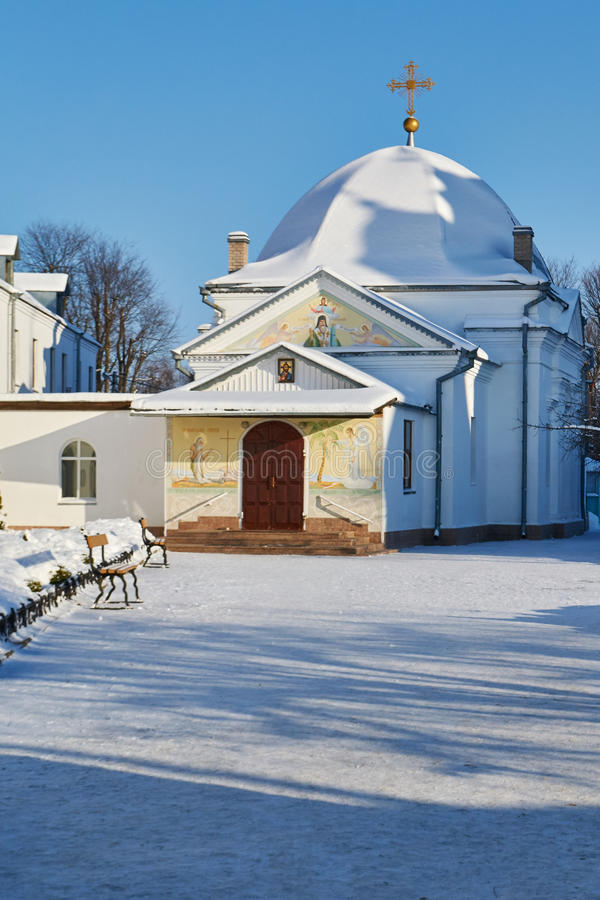 Orthodox chapel winter. Orthodox convent of the Belarusian Exarchate of the Russian Orthodox Church royalty free stock photos