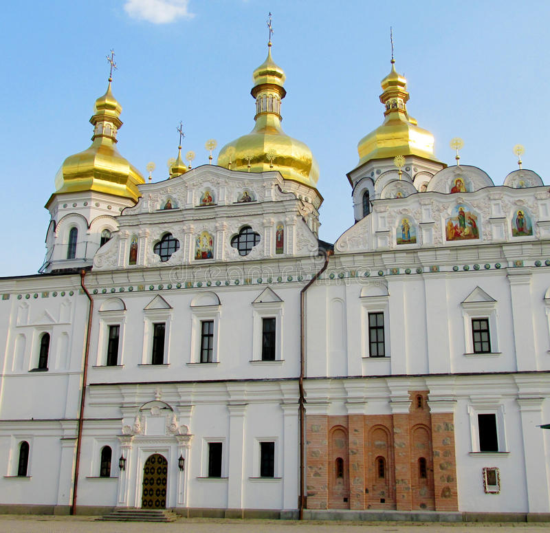 Orthodox Christian Church With Golden Domes In Kiev Stock