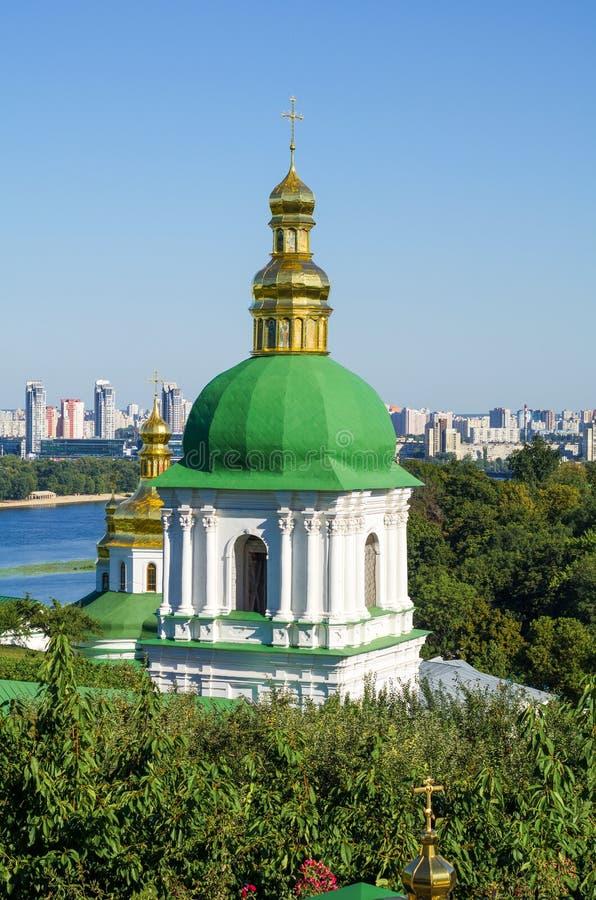 Orthodox Christian monastery, Pechersk Lavra in Kiev. On green hills of Pechersk. Ukraine royalty free stock images