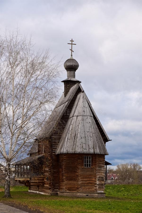 Orthodox christian old wooden church 18th century, Suzdal Russia stock photo