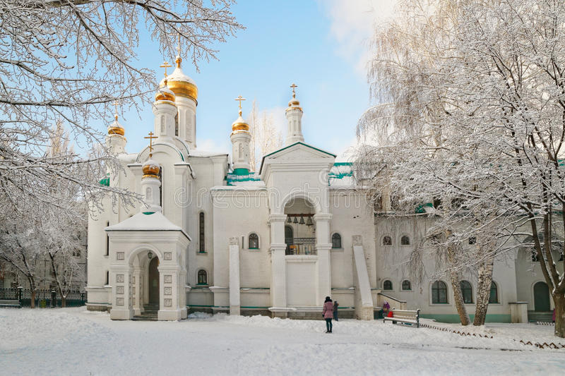 Orthodox church. The temple in honor of All Sacred in the earth Russian lit up Tolyatti stock images