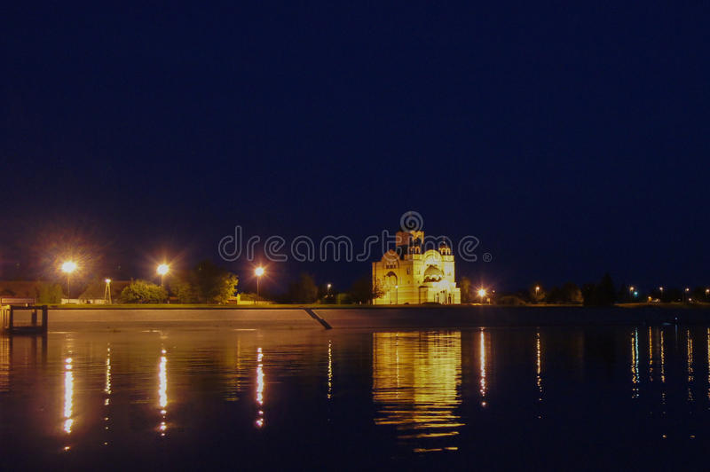 Orthodox Church Apatin. View from the danube royalty free stock photography