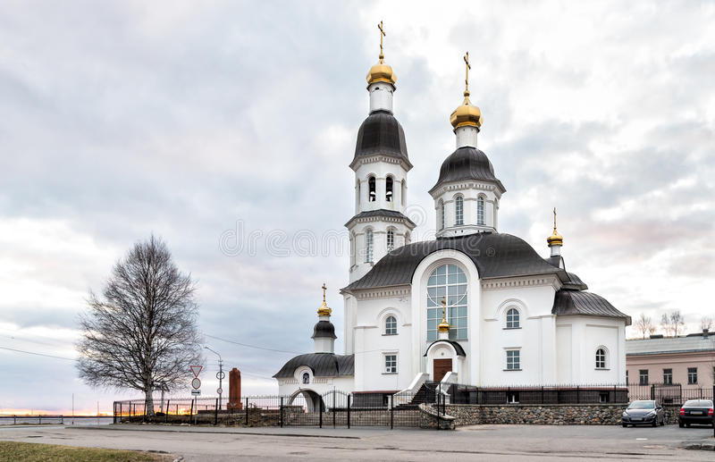 Orthodox Church of Assumption of Virgin Mary in Arkhangelsk. stock photo