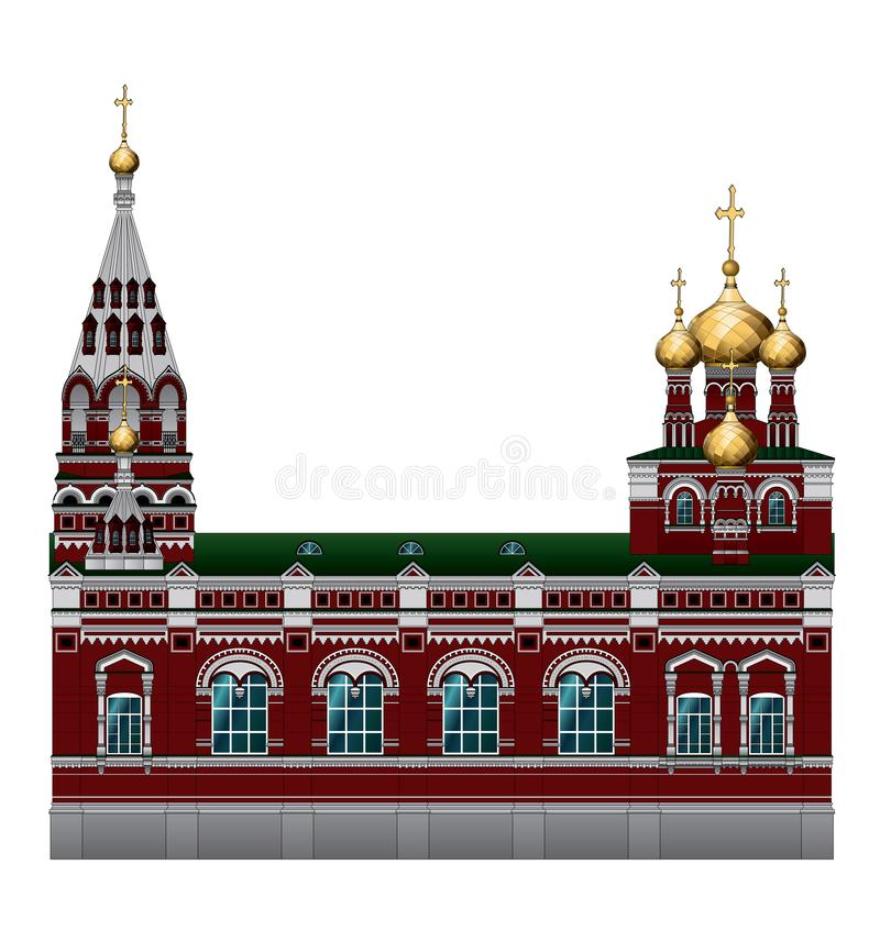 An Orthodox Church. Bishops Compound of the Church of the ascension. Old Church building in the city of Perm. The Russian architecture. Old Church building in stock illustration