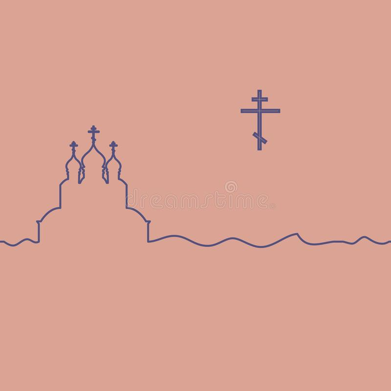 Orthodox church and cross. Orthodox church and cross illustration. One line drawing. Vector vector illustration