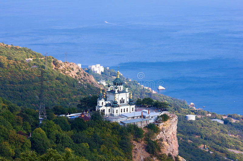 Orthodox church in Foros, Crimea. Old orthodox church in mountains near Foros town. Crimea royalty free stock photo