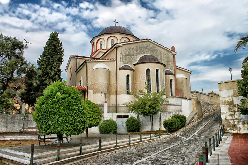 Orthodox church in Kavala. Greece stock images