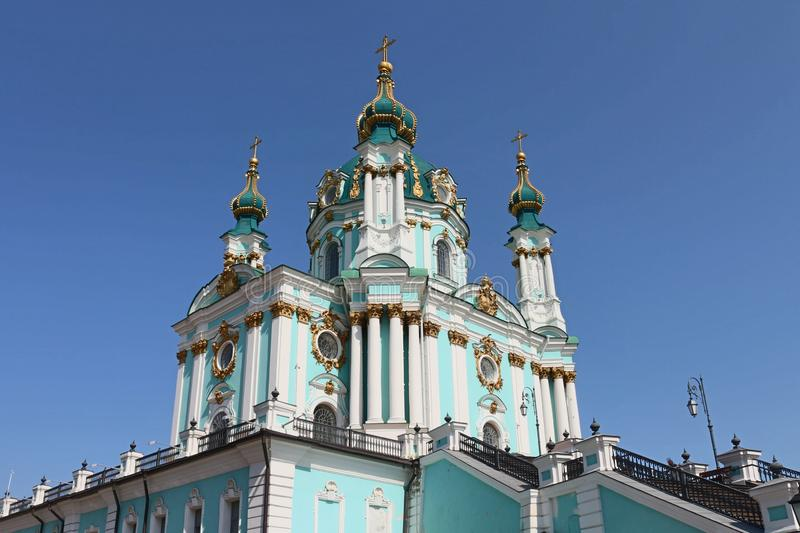 Orthodox Church in Kiev. Andrew`s Descent. Architecture of the city and its landscapes royalty free stock photos