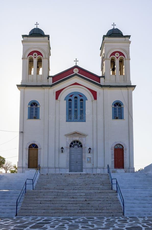 Orthodox church in Naoussa village, Paros island, Cyclades, Greece stock image