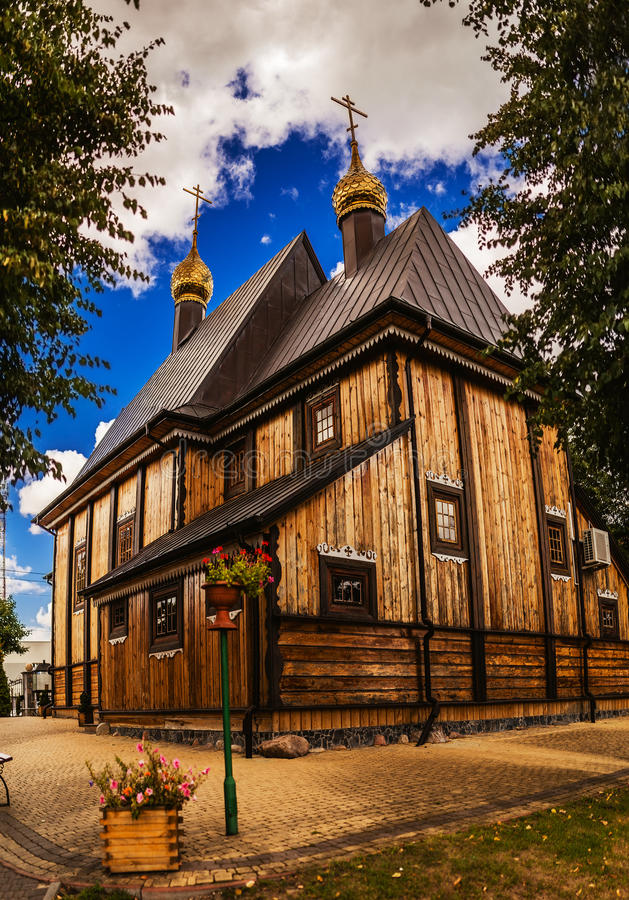 Orthodox church Nativity of Blessed Virgin Mary. Wooden Orthodox church Nativity of the Blessed Virgin Mary in Bielsk Podlaski is an Urban Gmina in Bielsk County royalty free stock image