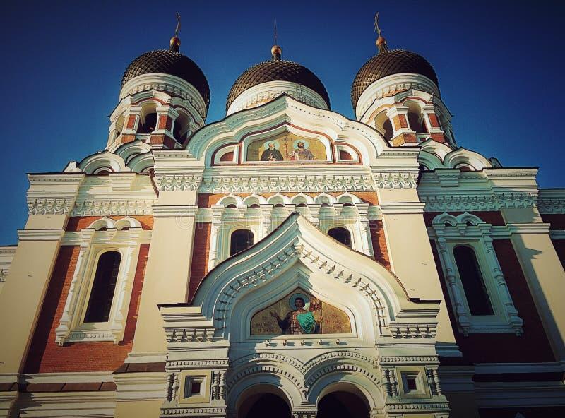Orthodox church at sunny day. In old Tallinn Christ religion stock photos