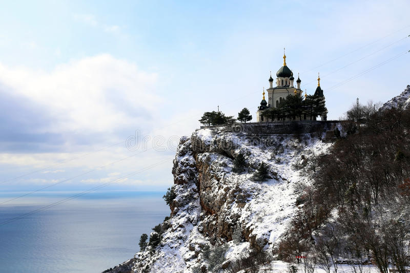 Orthodox church on top of the mountain. stock image