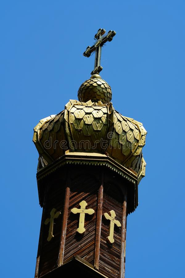 Orthodox church tower in Danube Delta 2 royalty free stock photos