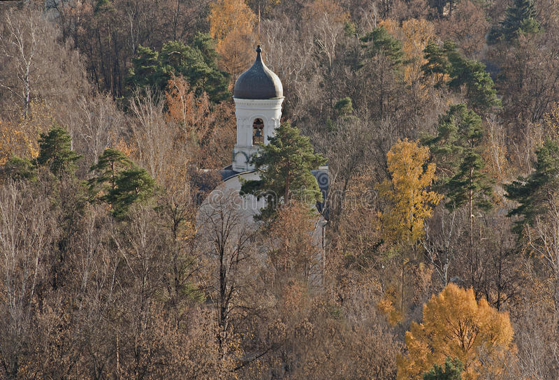 The orthodox church which got lost in the woods of Moscow area. royalty free stock photos