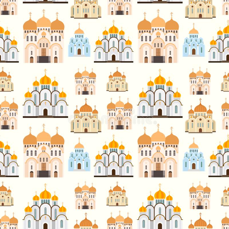 Orthodox churches seamless pattern background vector building royalty free illustration