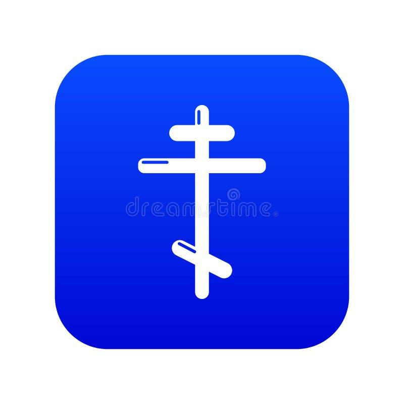 Orthodox cross icon blue vector stock illustration