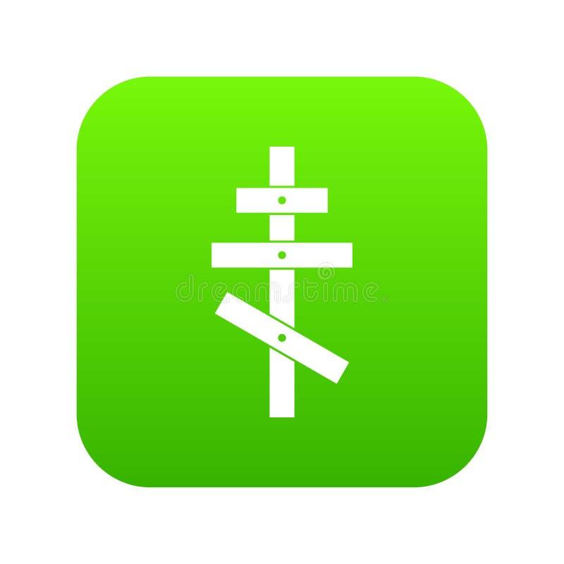 Orthodox cross icon digital green stock illustration