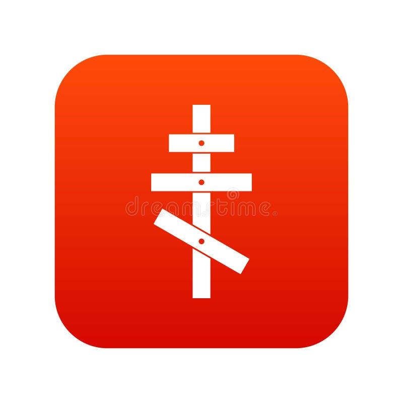 Orthodox cross icon digital red vector illustration