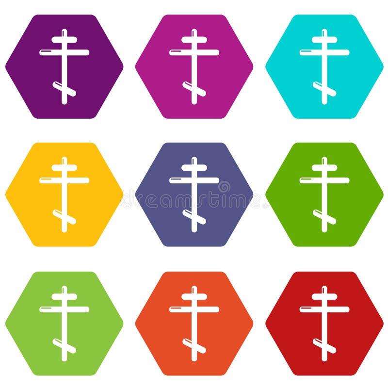Orthodox cross icons set 9 vector stock illustration