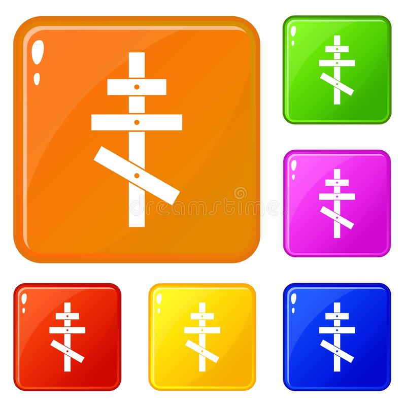 Orthodox cross icons set vector color royalty free illustration