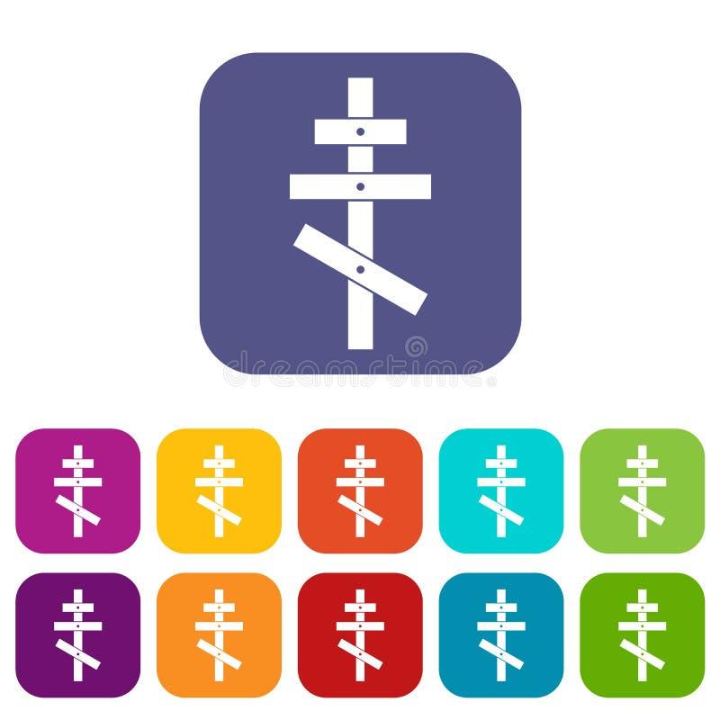 Orthodox cross icons set royalty free illustration