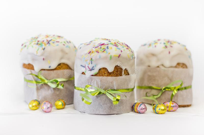 Orthodox Easter Cake With Chocolate Eggs and Traditional Decor stock photography