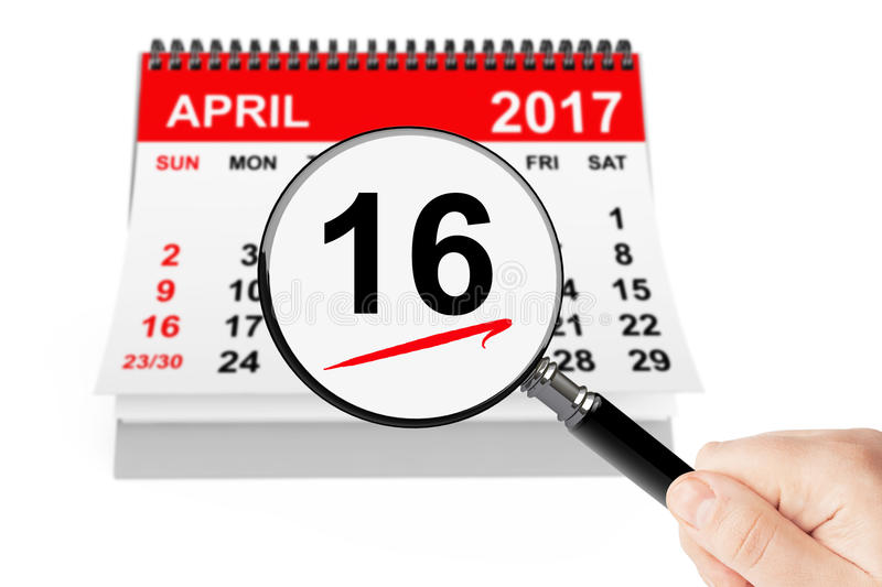 Orthodox Easter Concept. 16 april 2017 calendar with magnifier. On a white background stock photography